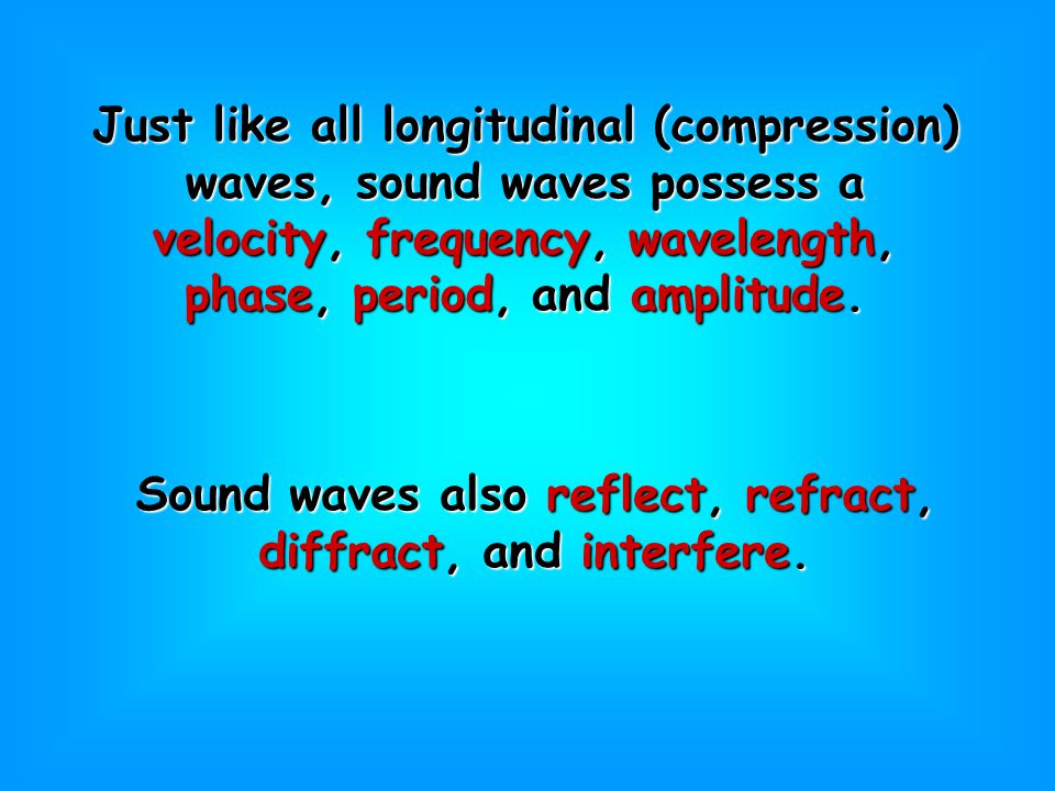 Just like all longitudinal (compression) waves, sound waves possess a