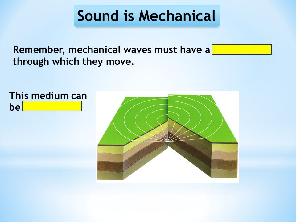 Sound is Mechanical Remember, mechanical waves must have a medium through which they move.