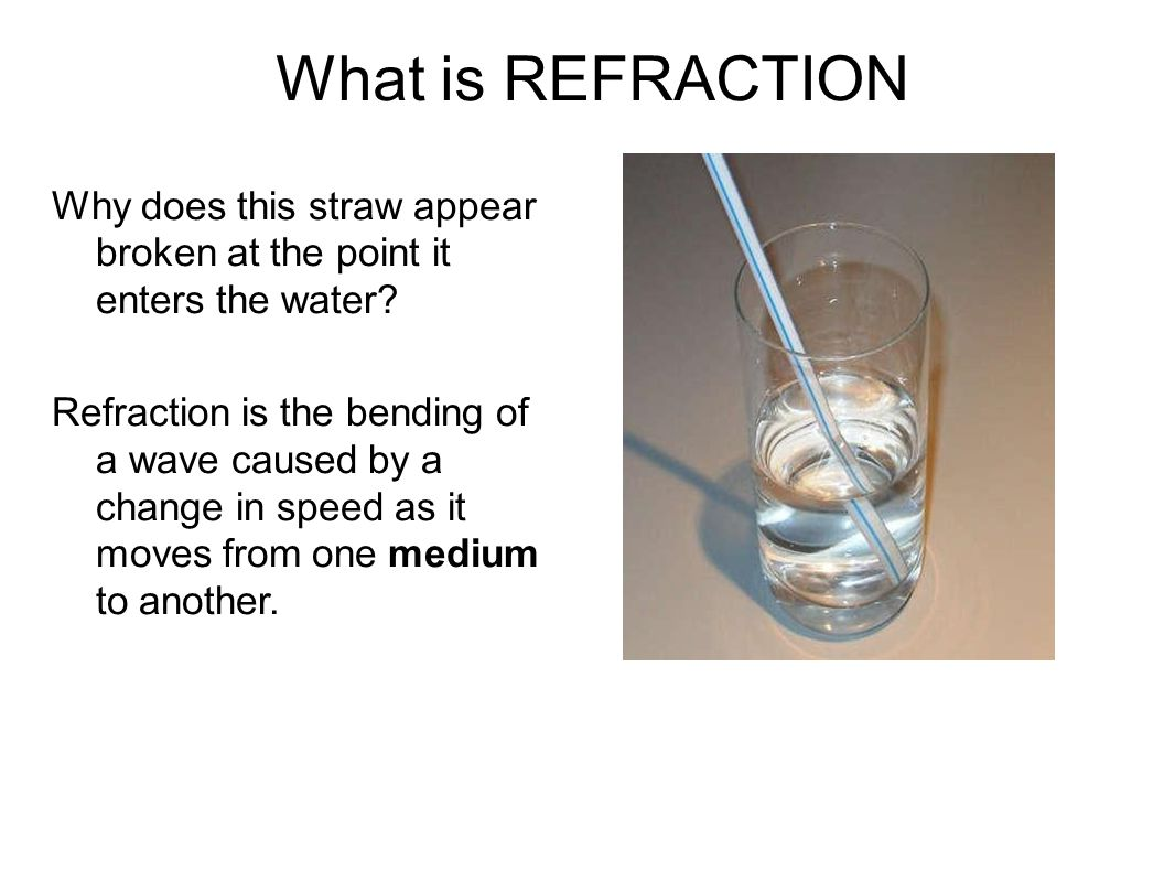 What is REFRACTION Why does this straw appear broken at the point it enters the water