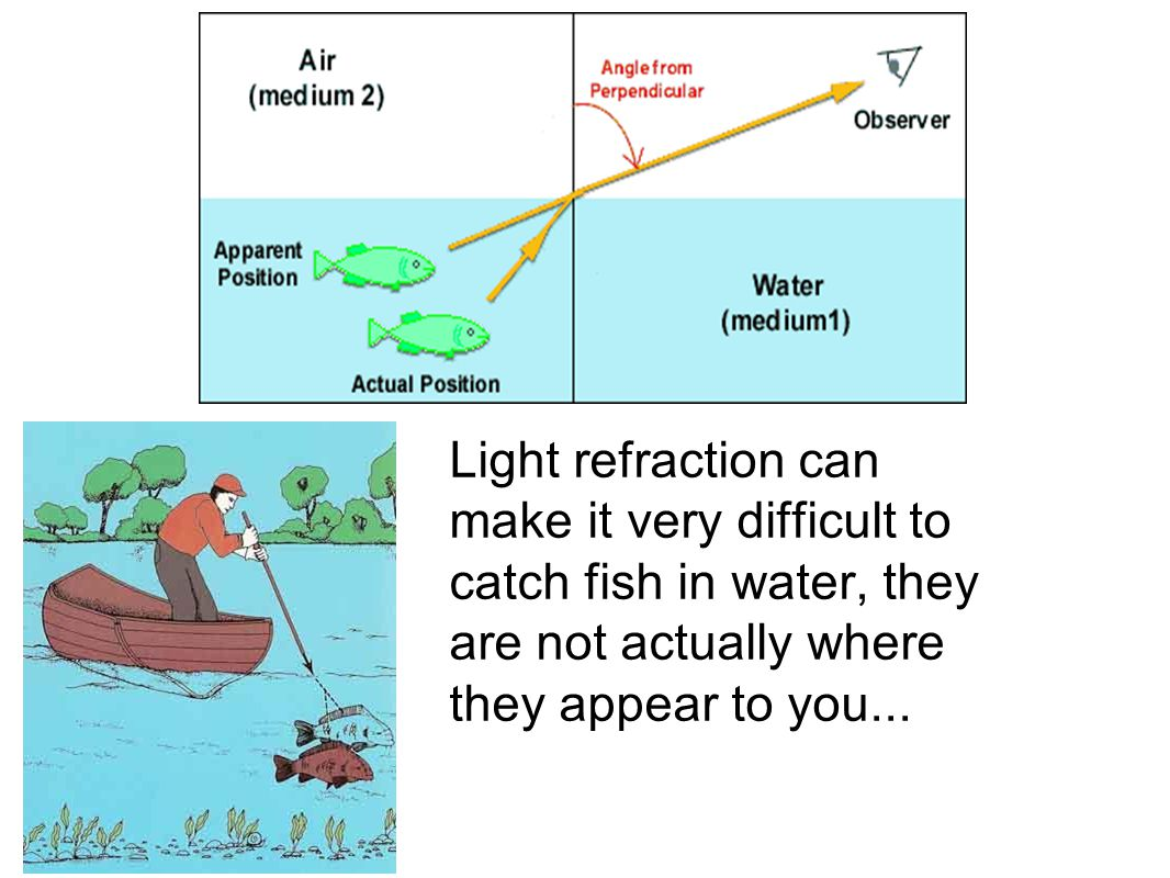 Light refraction can make it very difficult to catch fish in water, they are not actually where they appear to you...