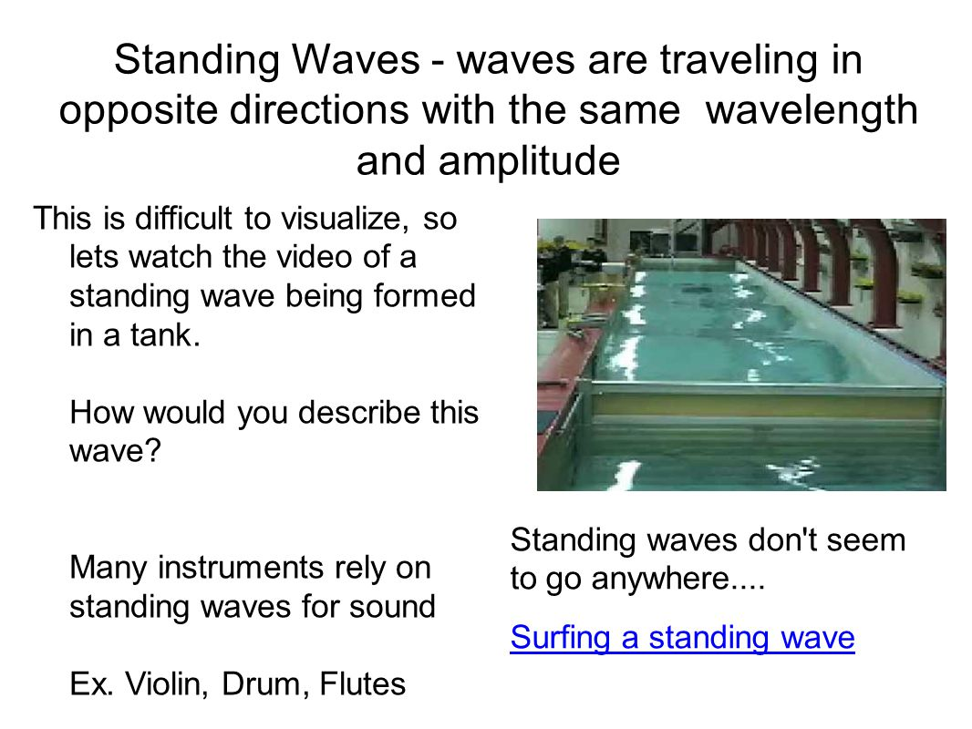 Standing Waves - waves are traveling in opposite directions with the same wavelength and amplitude