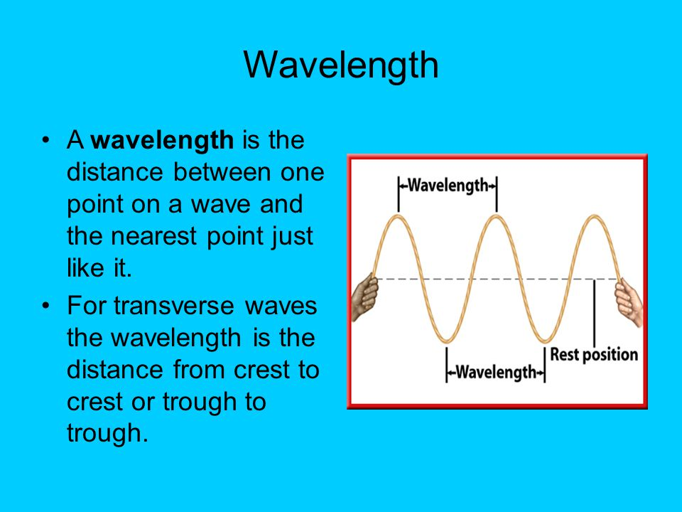 Wavelength A wavelength is the distance between one point on a wave and the nearest point just like it.