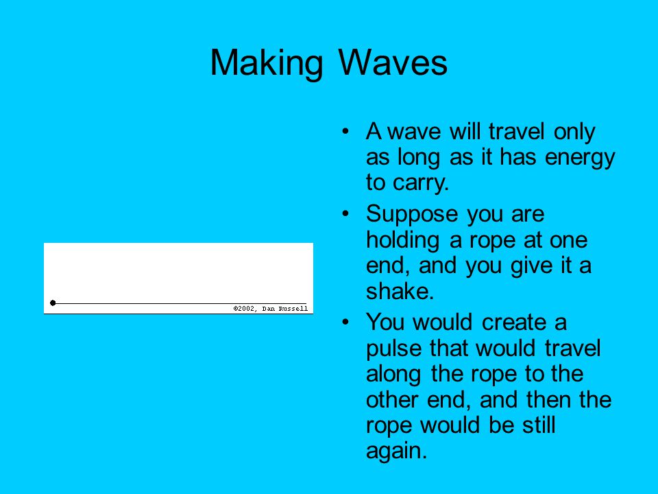 Making Waves A wave will travel only as long as it has energy to carry. Suppose you are holding a rope at one end, and you give it a shake.