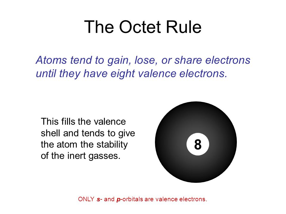 The Octet Rule 8 Atoms tend to gain, lose, or share electrons
