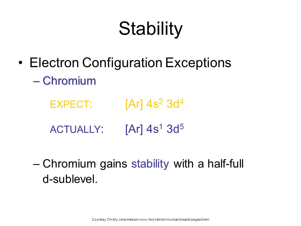 Stability Electron Configuration Exceptions Chromium