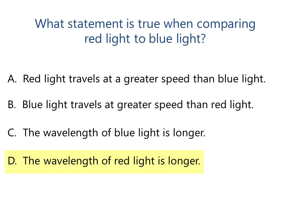 What statement is true when comparing red light to blue light