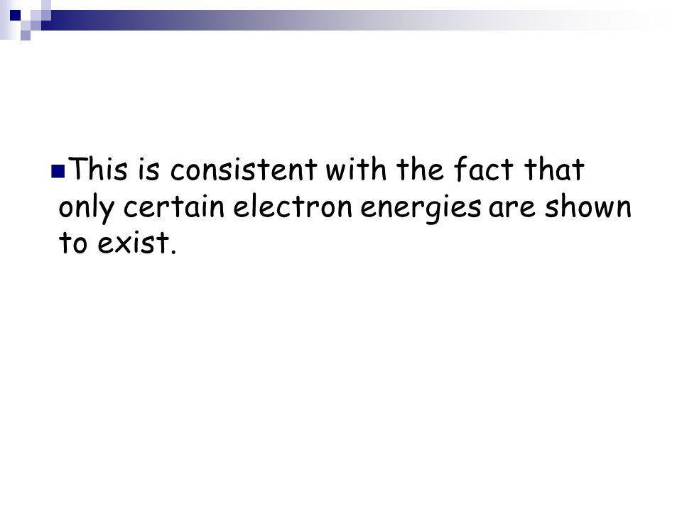 This is consistent with the fact that only certain electron energies are shown to exist.