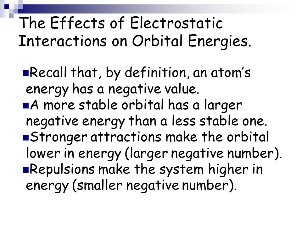 The Effects of Electrostatic Interactions on Orbital Energies.