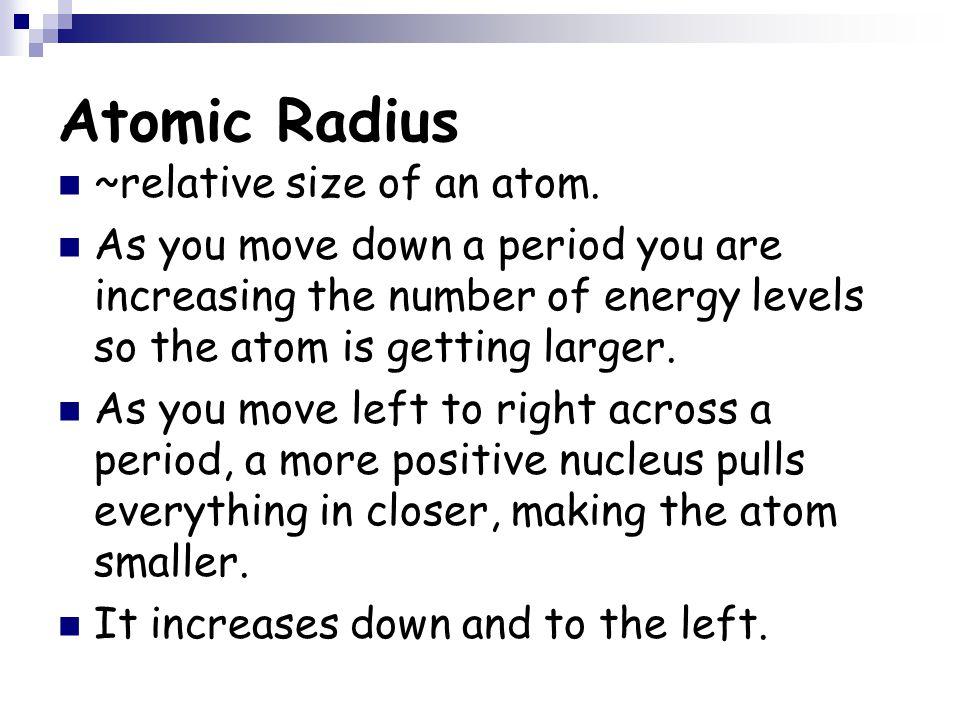 Atomic Radius ~relative size of an atom.
