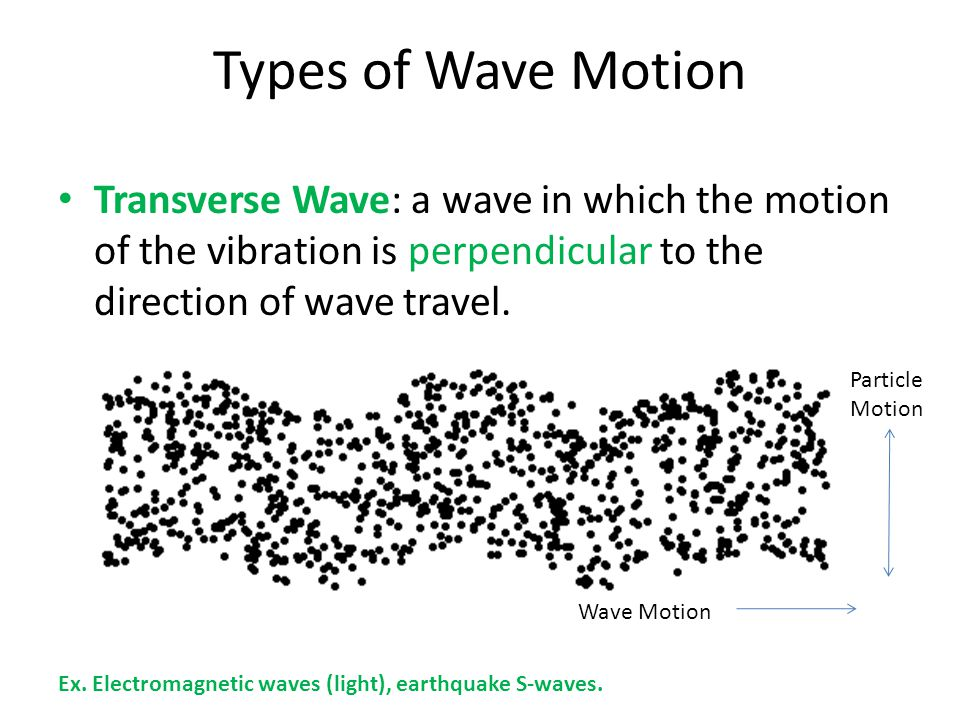 Types of Wave Motion Transverse Wave: a wave in which the motion of the vibration is perpendicular to the direction of wave travel.