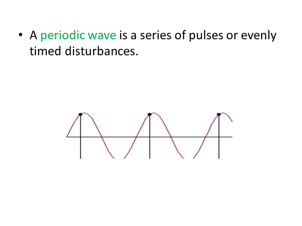 A periodic wave is a series of pulses or evenly timed disturbances.