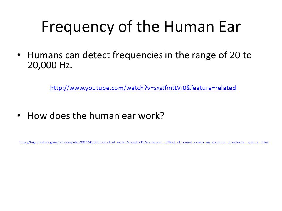 Frequency of the Human Ear