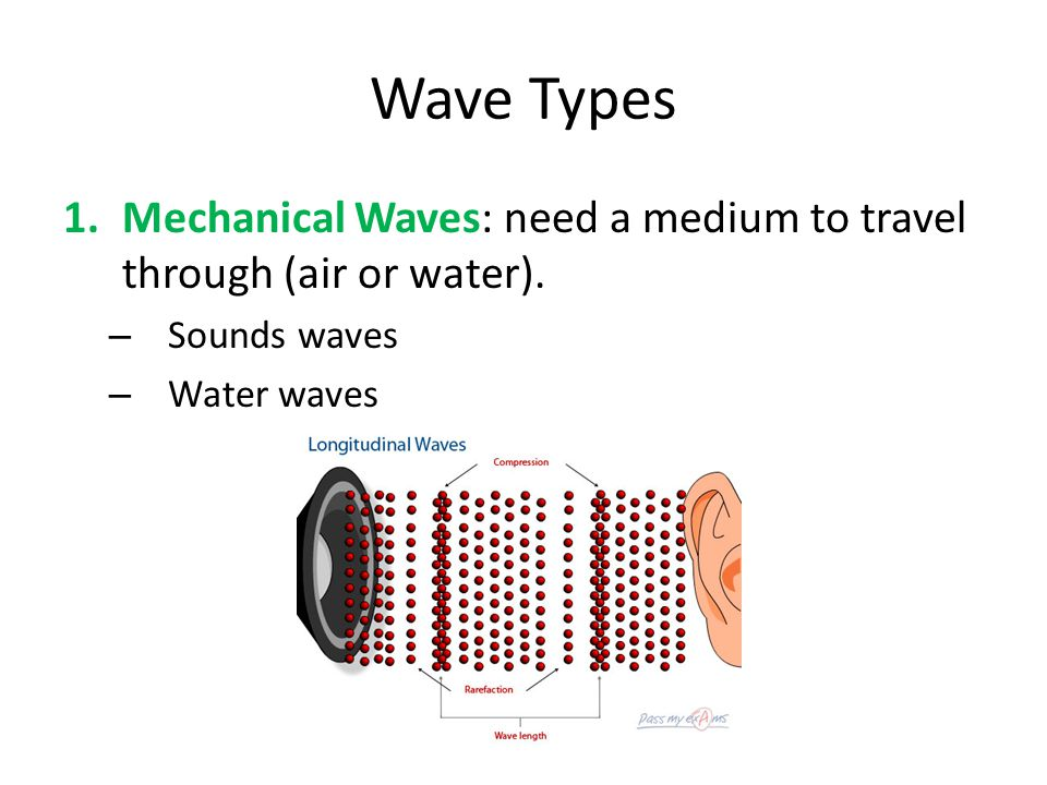 Wave Types Mechanical Waves: need a medium to travel through (air or water).