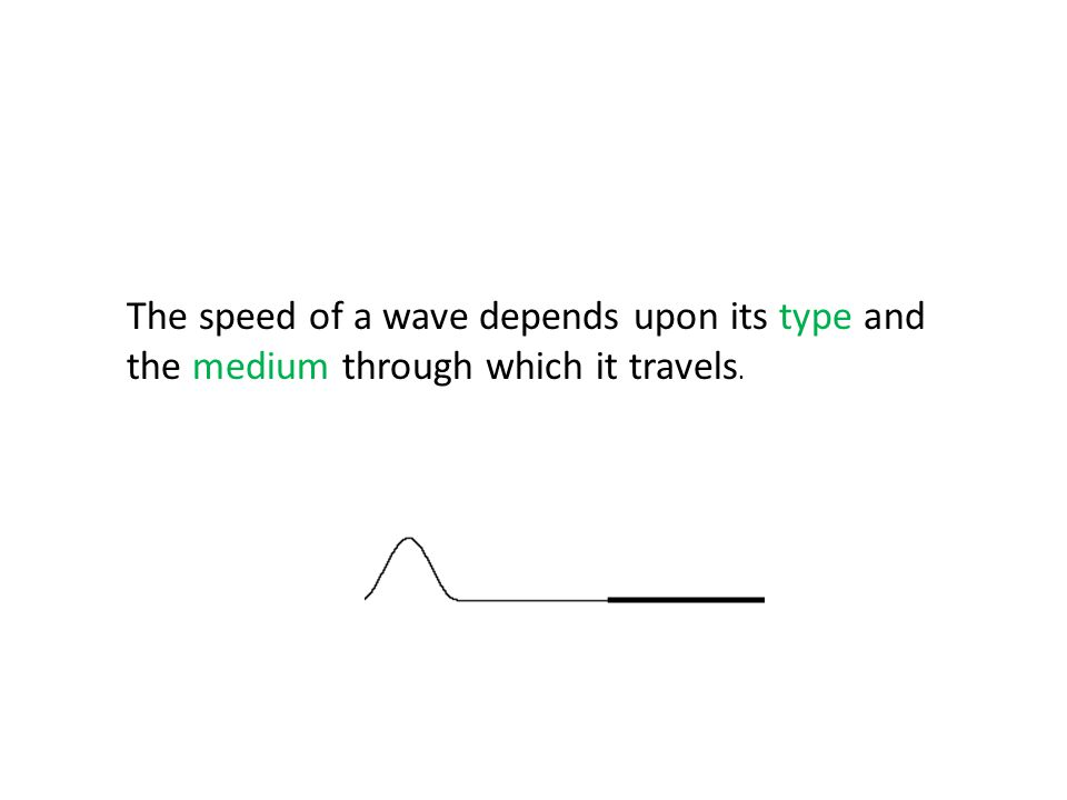 The speed of a wave depends upon its type and