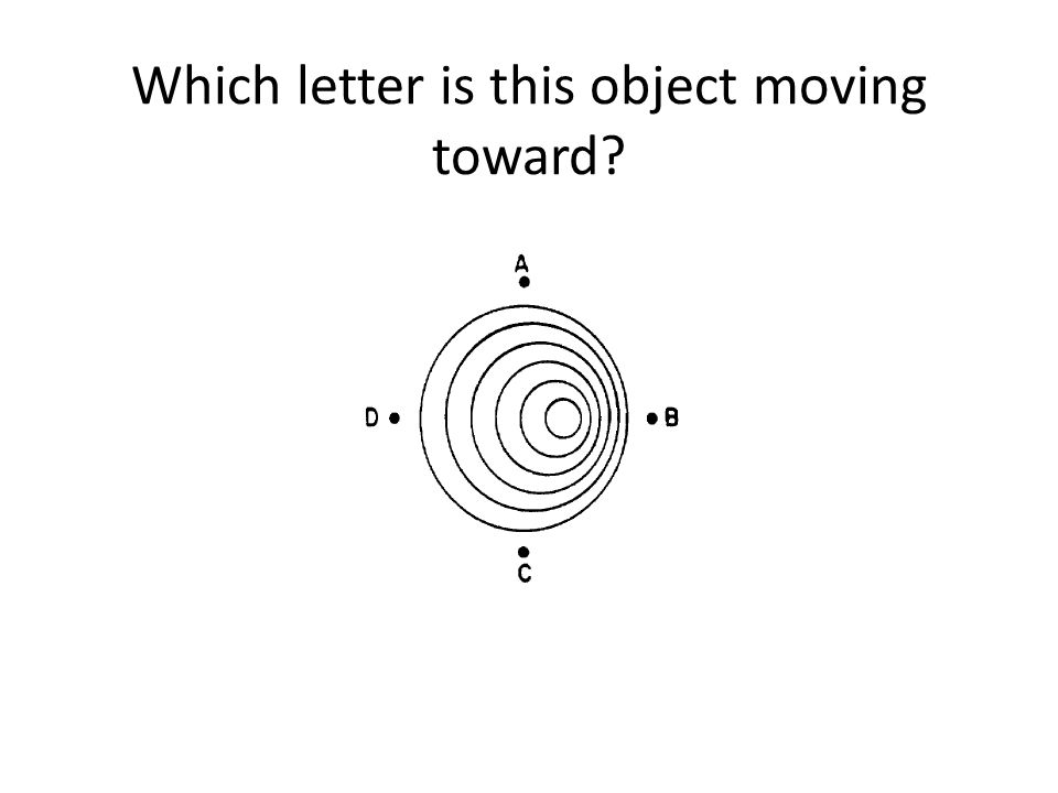 Which letter is this object moving toward