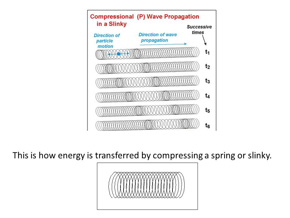 This is how energy is transferred by compressing a spring or slinky.