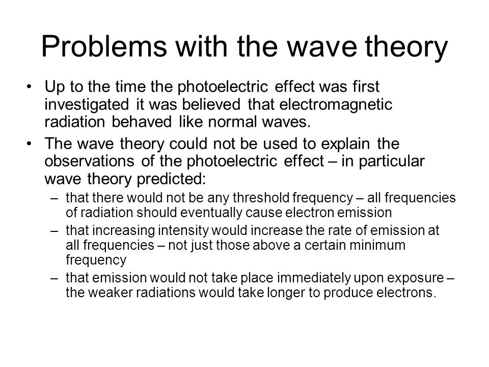 Problems with the wave theory