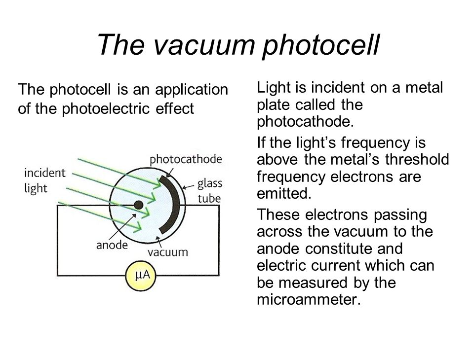 Quantum Phenomena Breithaupt pages 30 to 43. The vacuum photocell. The photocell is an application of the photoelectric effect.