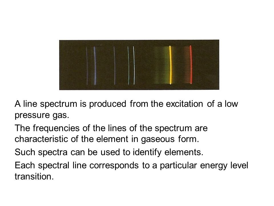 Quantum Phenomena Breithaupt pages 30 to 43. Line spectra. A line spectrum is produced from the excitation of a low pressure gas.