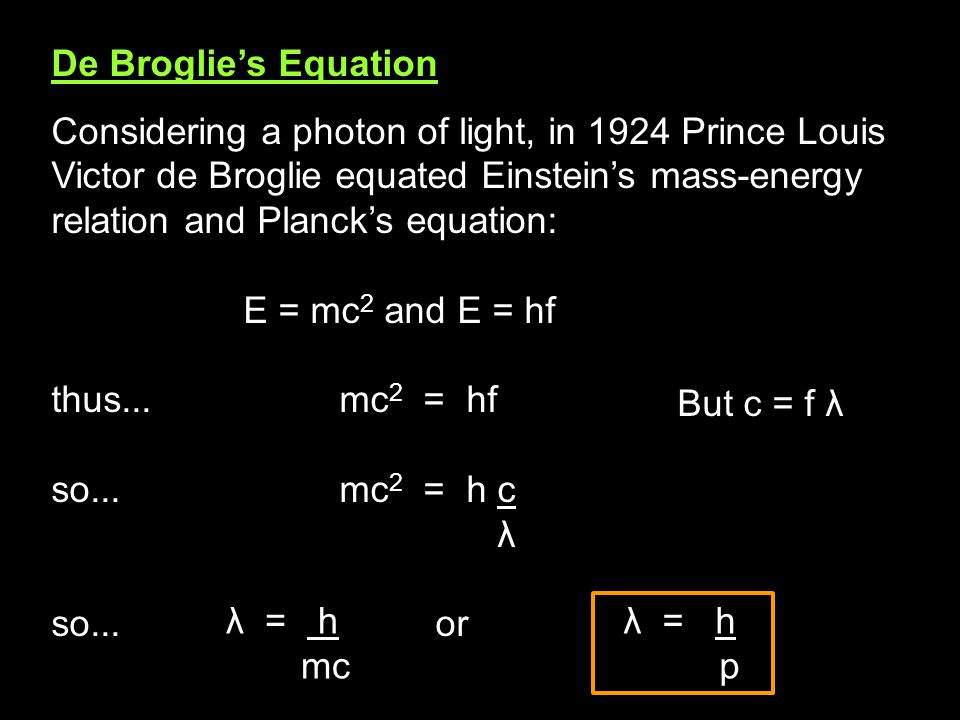De Broglie's Equation