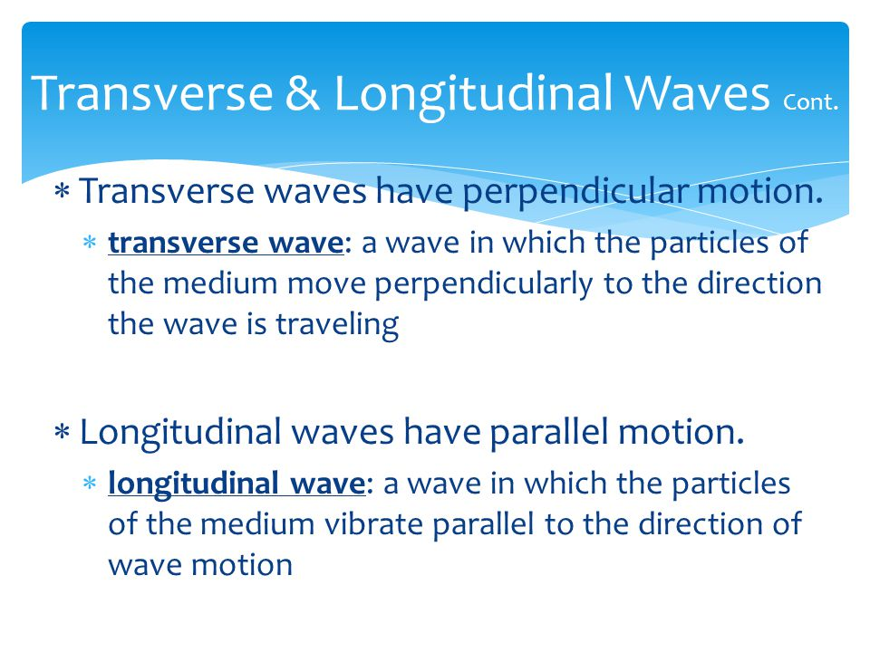 difference between transverse and longitudinal waves pdf
