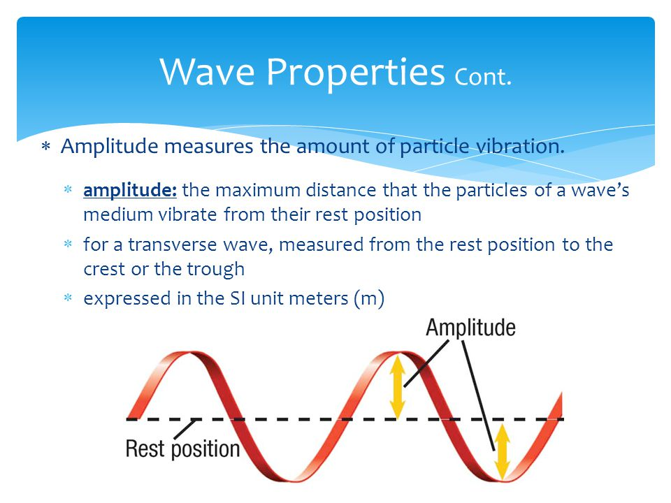Wave Properties Cont. Amplitude measures the amount of particle vibration.