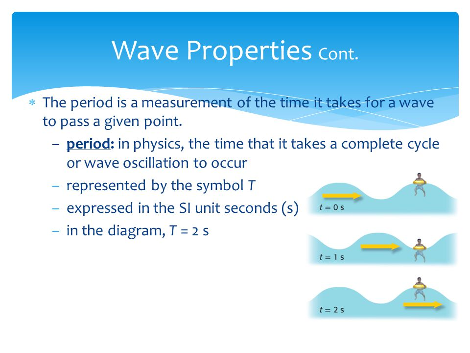 Wave Properties Cont. The period is a measurement of the time it takes for a wave to pass a given point.