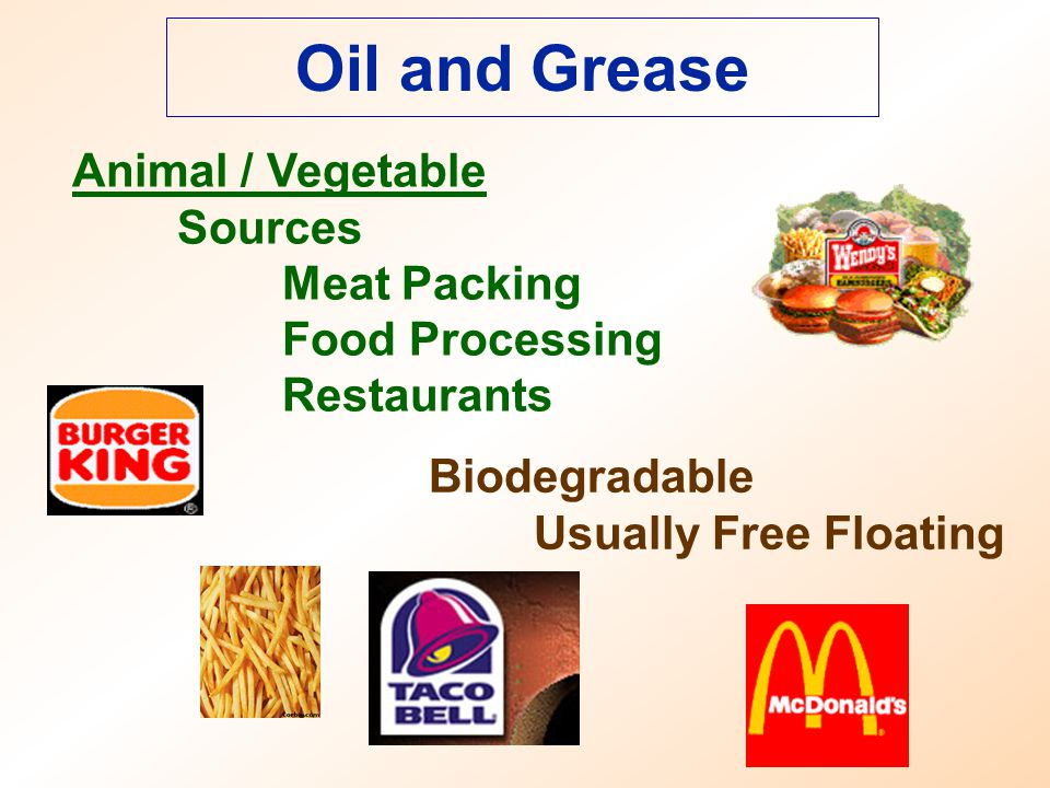 Oil and Grease Animal / Vegetable Sources Meat Packing Food Processing