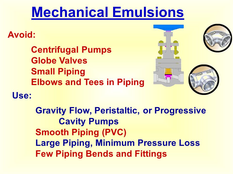Mechanical Emulsions Avoid: Centrifugal Pumps Globe Valves