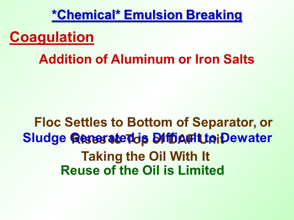 *Chemical* Emulsion Breaking