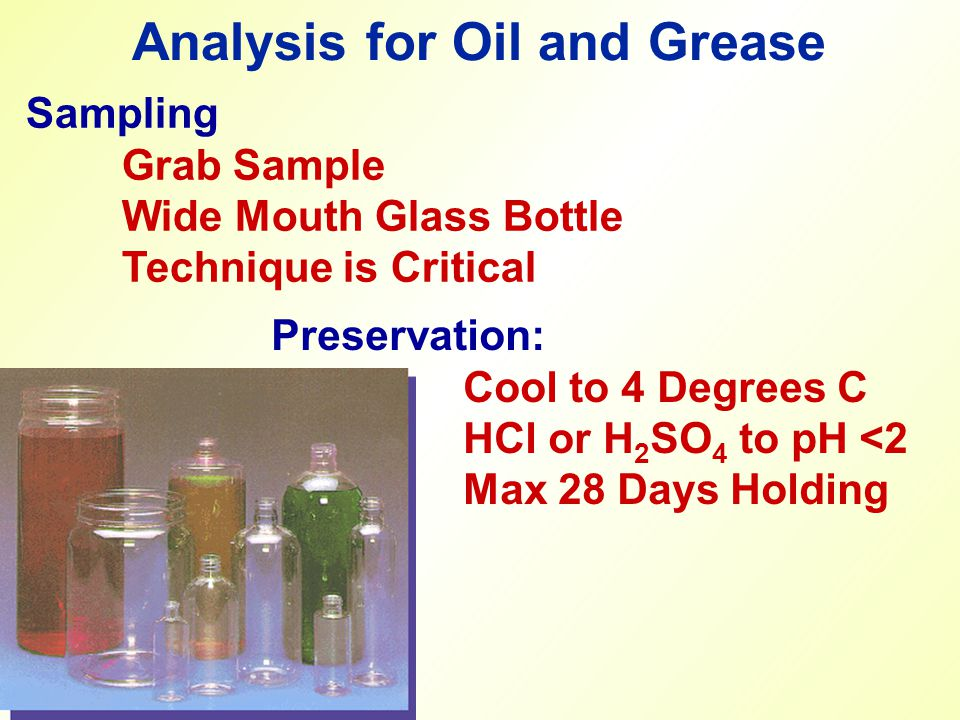 Analysis for Oil and Grease