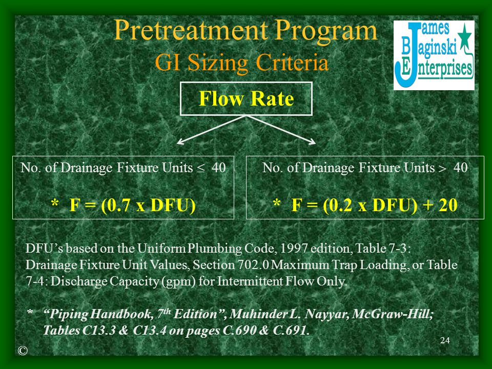 Pretreatment Program GI Sizing Criteria