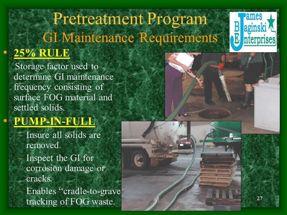 Pretreatment Program GI Maintenance Requirements