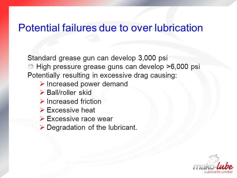 Potential failures due to over lubrication