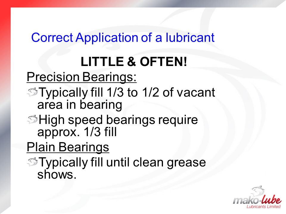Correct Application of a lubricant