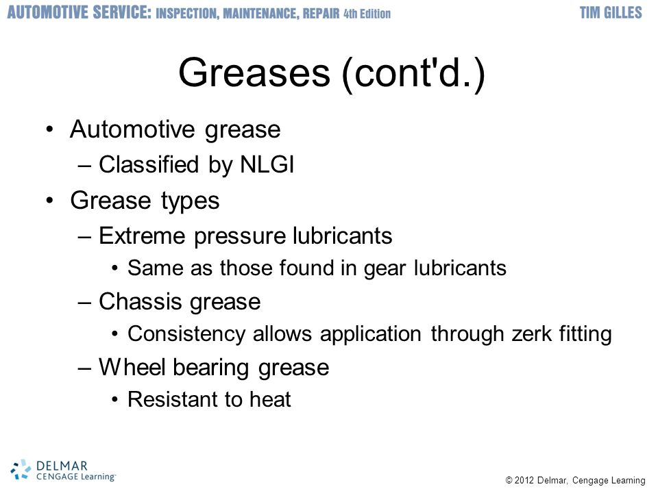Greases (cont d.) Automotive grease Grease types Classified by NLGI