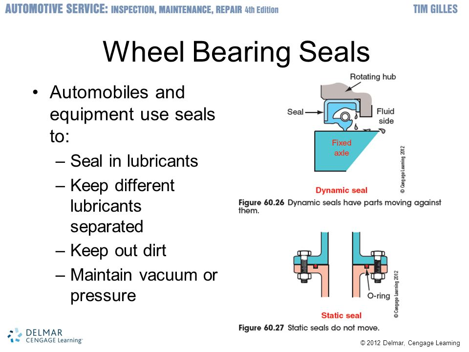 Wheel Bearing Seals Automobiles and equipment use seals to: