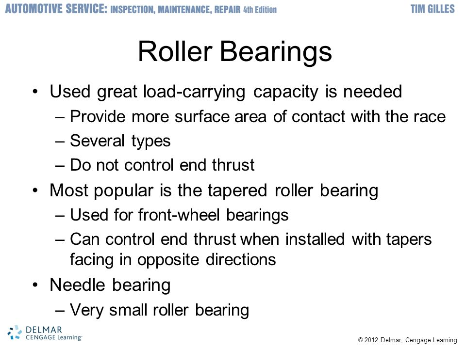 Roller Bearings Used great load-carrying capacity is needed