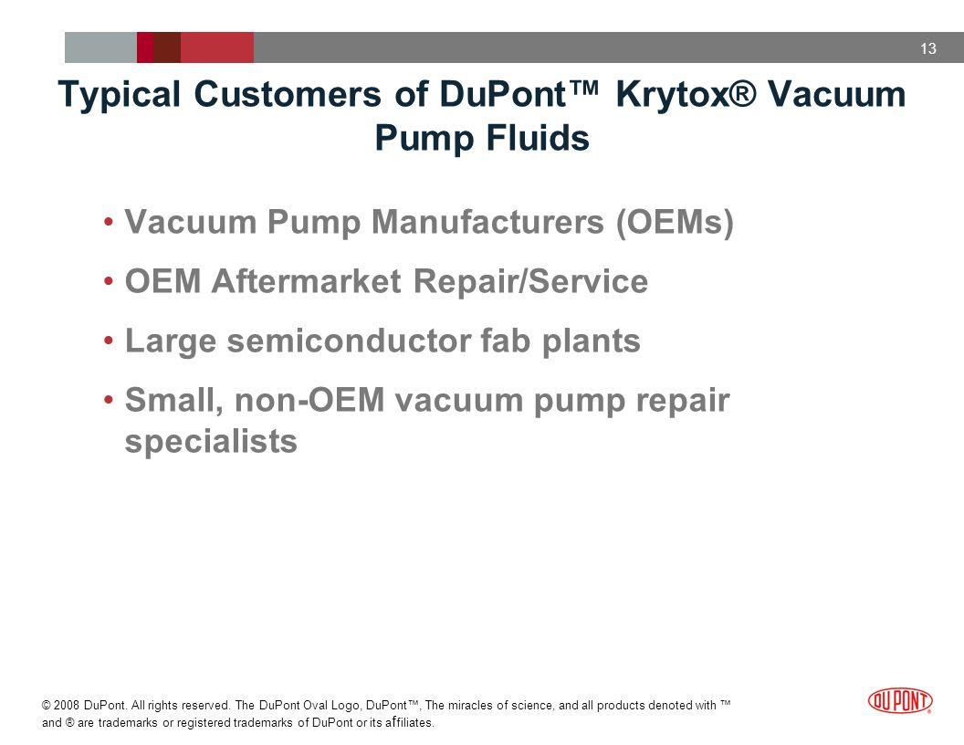 Typical Customers of DuPont™ Krytox® Vacuum Pump Fluids