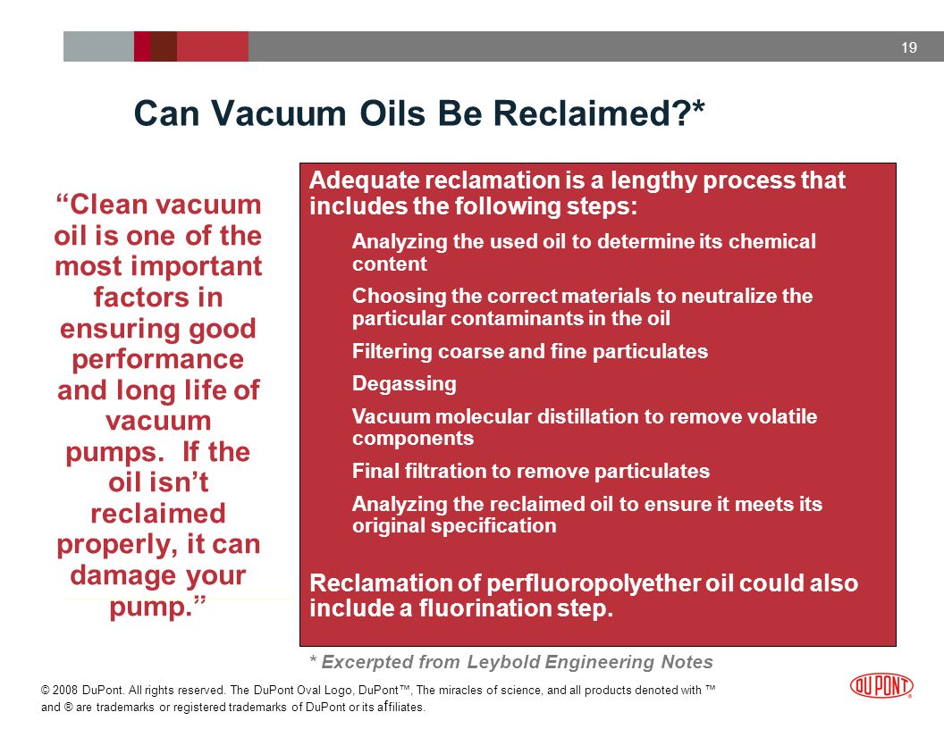 Can Vacuum Oils Be Reclaimed *