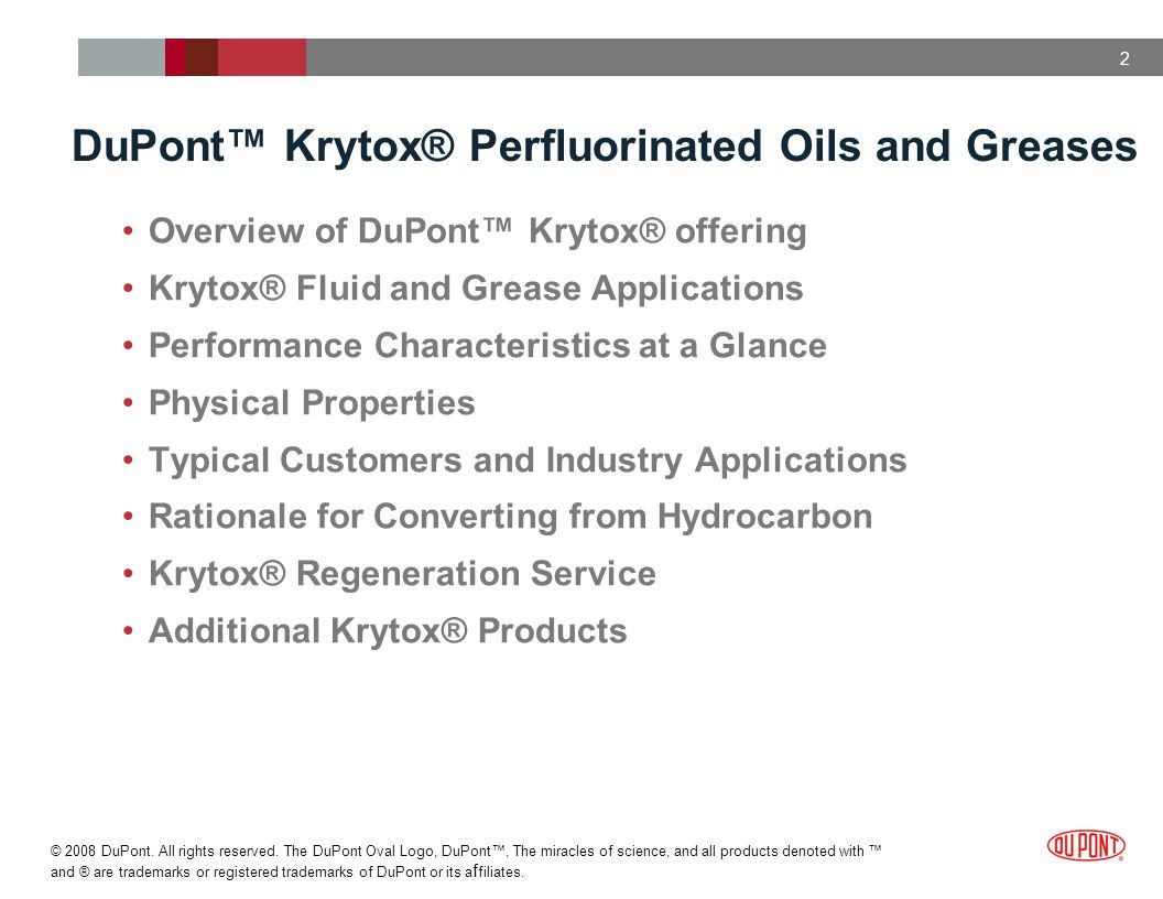 DuPont™ Krytox® Perfluorinated Oils and Greases