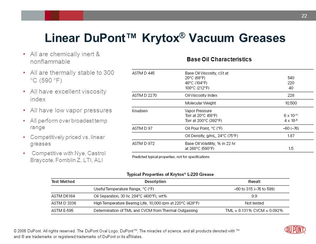 Linear DuPont™ Krytox® Vacuum Greases