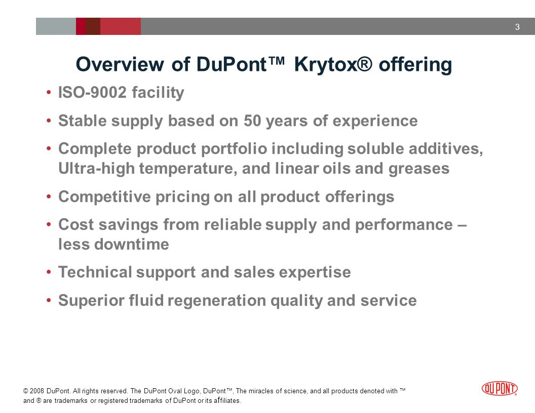 Overview of DuPont™ Krytox® offering
