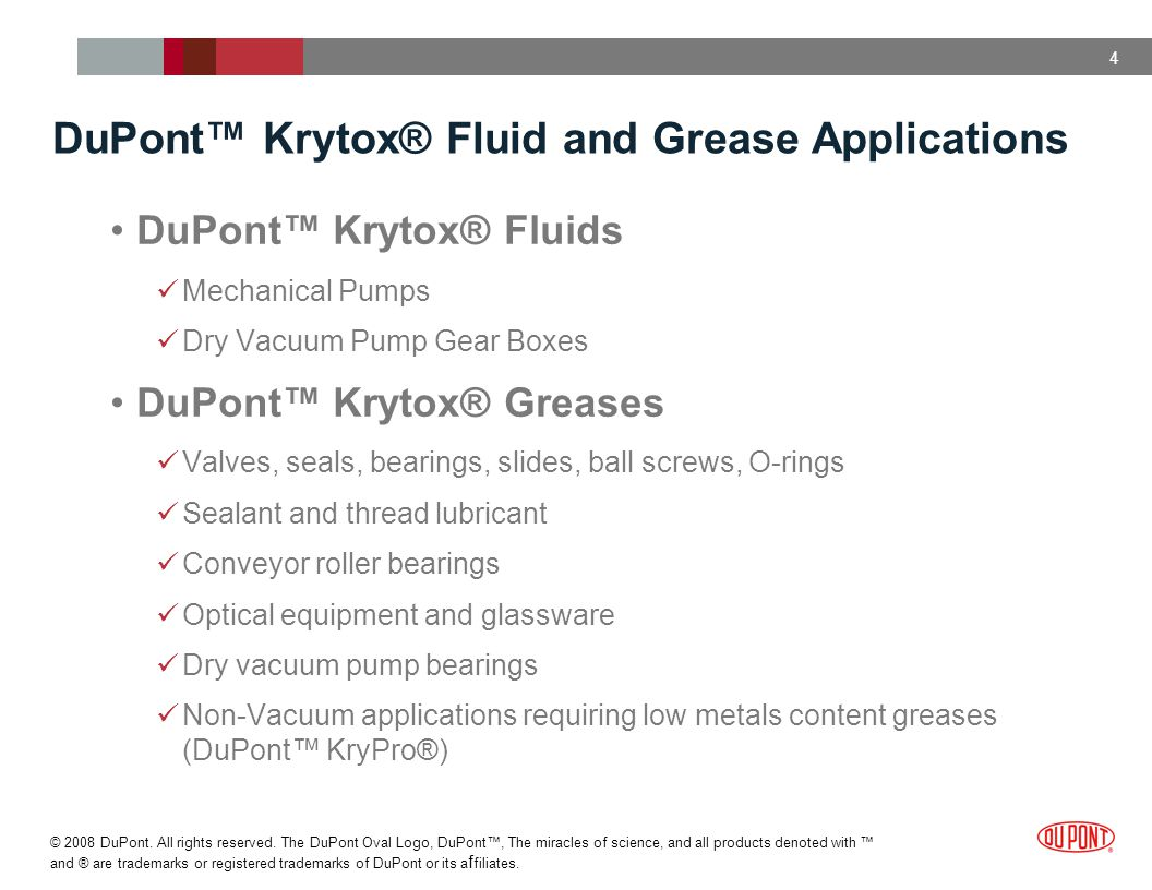 DuPont™ Krytox® Fluid and Grease Applications