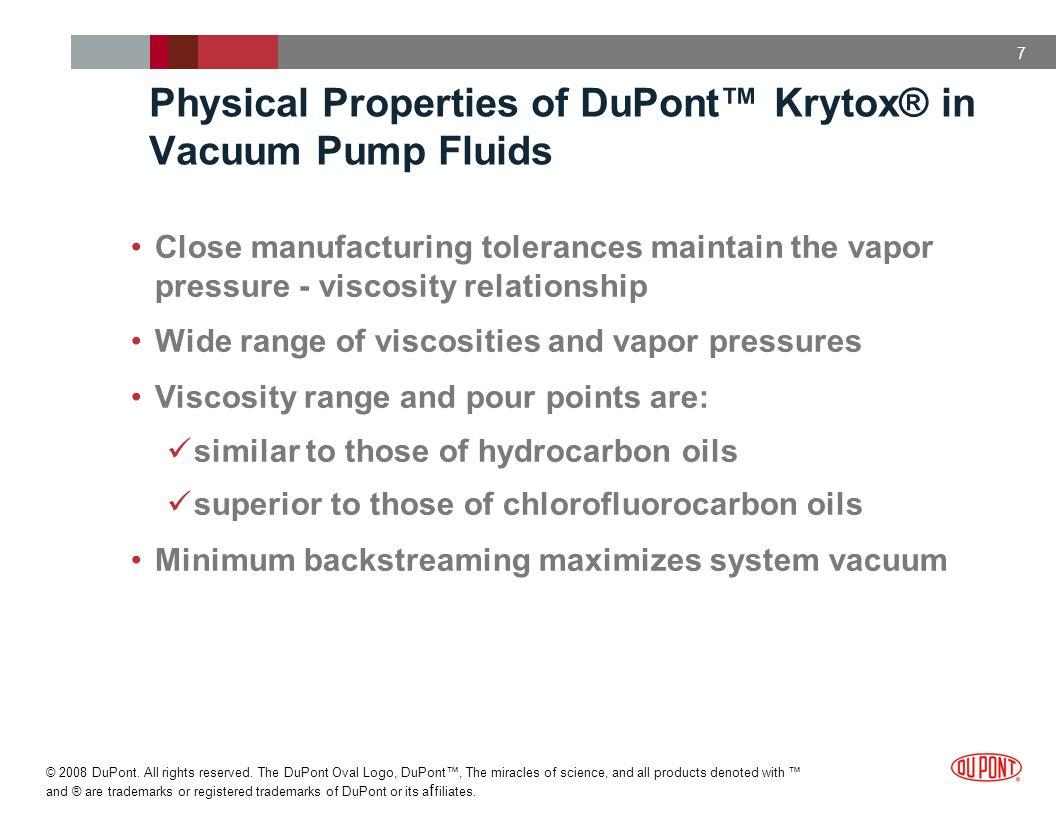 Physical Properties of DuPont™ Krytox® in Vacuum Pump Fluids