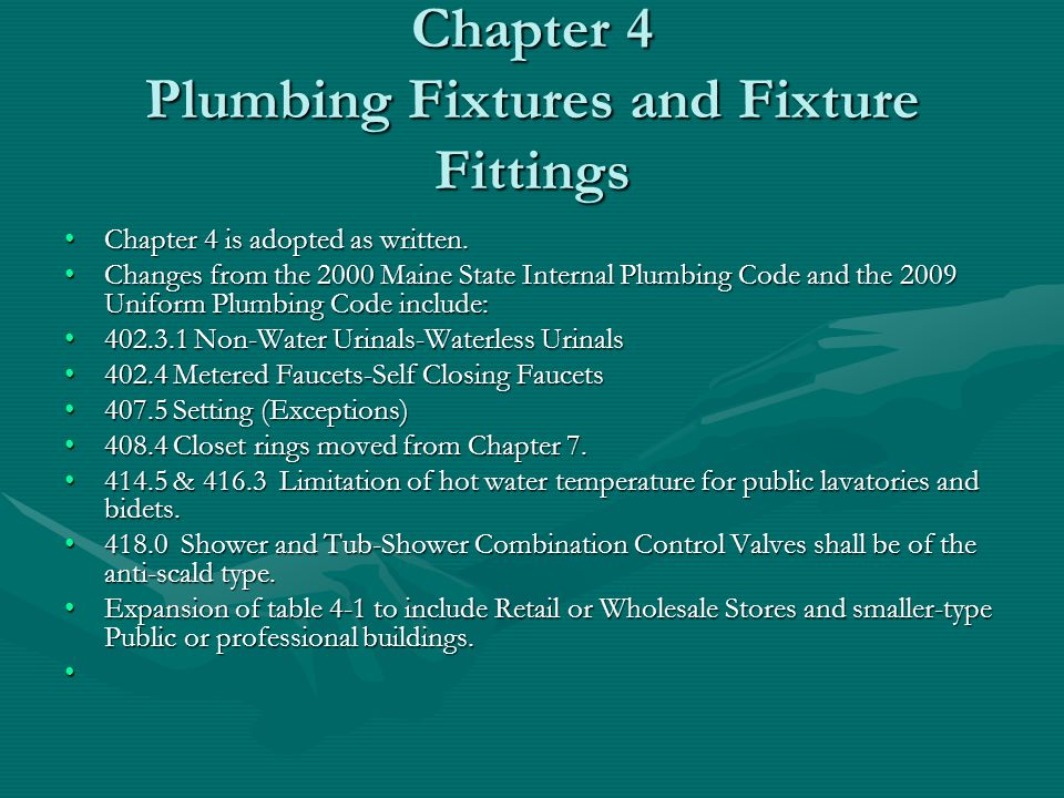 Chapter 4 Plumbing Fixtures and Fixture Fittings