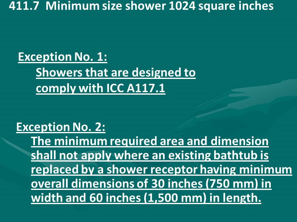 411.7 Minimum size shower 1024 square inches