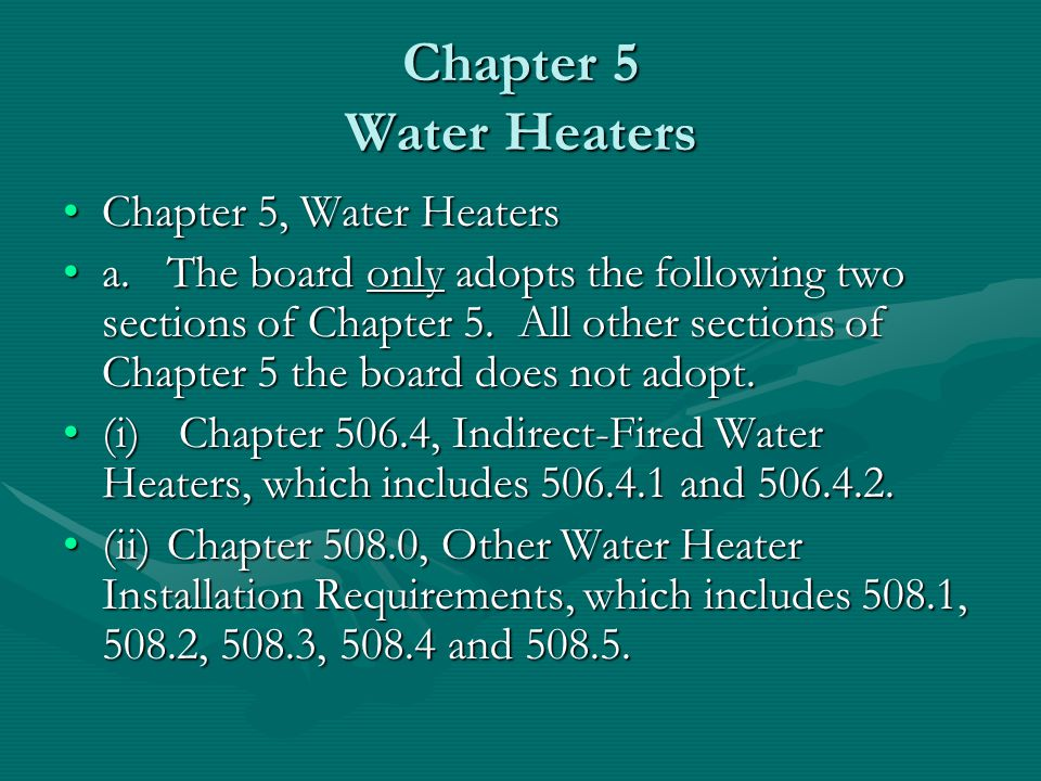 Chapter 5 Water Heaters Chapter 5, Water Heaters