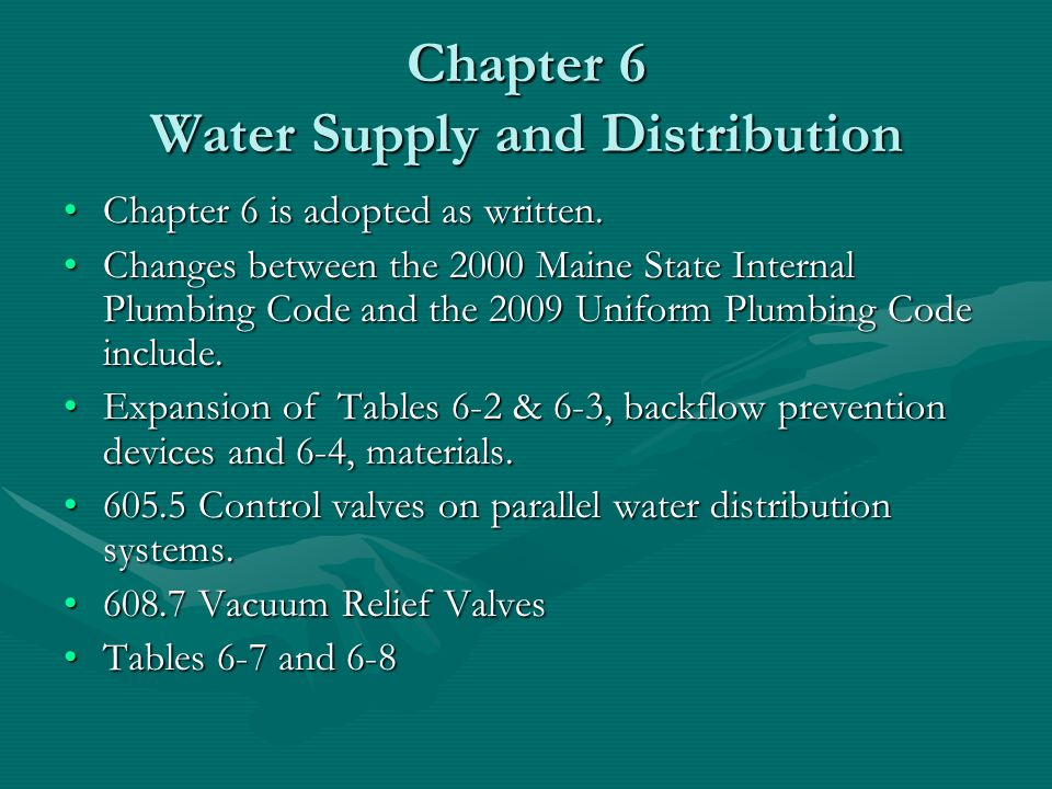 Chapter 6 Water Supply and Distribution