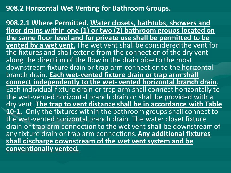 908.2 Horizontal Wet Venting for Bathroom Groups.